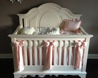 Crib Bedding Separates-Washed Ballet Linen Ruffled Crib Bedding Pieces- Crib Skirt-Receiving Blanket-Sashes-Crib Pillow