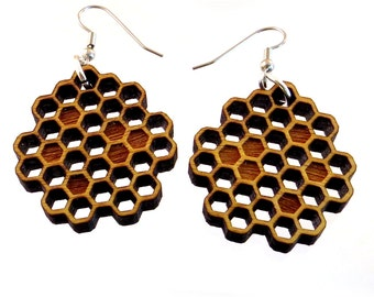 Honeycomb Yellowheart Hook Earrings - Honey Bee Wooden Dangle Earrings - Yellow Wood Beehive Earrings