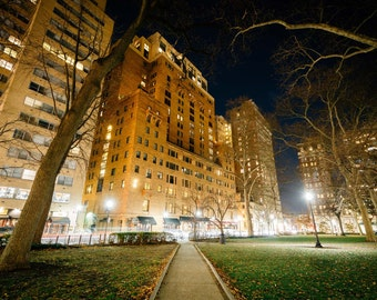 Buildings at Rittenhouse Square at night, in the Center City of Philadelphia, Pennsylvania. Photo Print, Metal, Canvas, Framed.