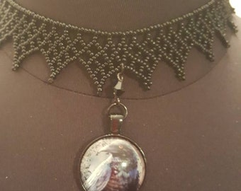 Crow raven glass cameo choker necklace