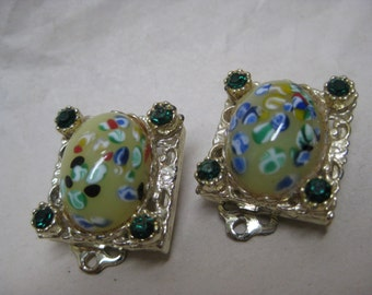 Green Yellow Rhinestone Earrings Clip Glass Gold Vintage