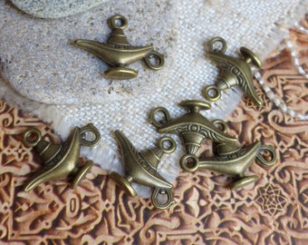 5 charms charms bronze aladdin magic lamp