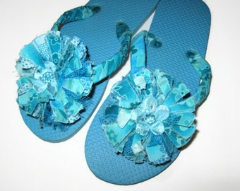 Decorated Flip Flops with Turquoise Fabric Flower