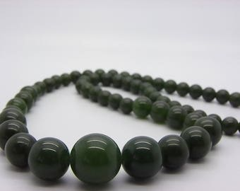 natural green jade drop necklace beads 14 mm to 8 mm 48 cm