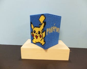 POKEMON PIKACHU/PSYDUCK Boutique Style Plastic Canvas Tissue Topper blue/yellow
