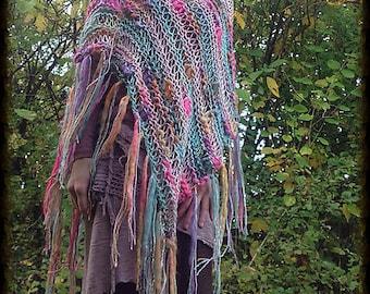 Colorful Poncho Knitting pattern, knitting PDF, knit wrap, handknit poncho women, women poncho pattern, boho poncho, art yarn