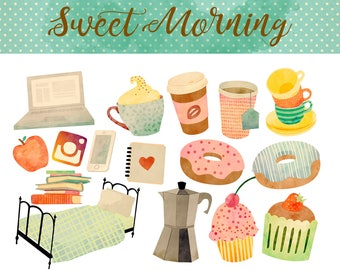 Watercolor Clipart - Coffee Clip art Breakfast Clip-art Morning Sweets Bed Books Planner Muffins iPhone Tea Laptop Digital. Commercial use.
