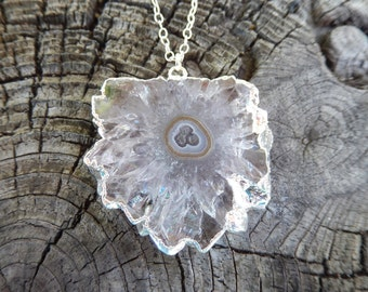 Clear Crystal Stalactite Slice Necklace Sterling Silver Chain Quartz Agate Pendant Free Shipping Jewelry
