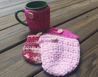 Crochet Mug Cozy - Hot Pink