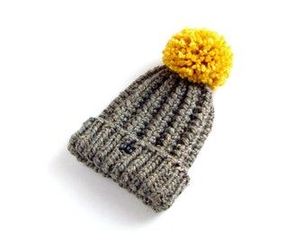 Mens Dark Grey Bobble Hat. Thick chunky charcoal flecked hand knitted beanie. Large mustard yellow pom pom. Gray wool blend M/L/XL Mans Gift
