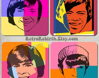 The Monkees  Pop Art Drink Coaster Set - Classic Rock Music Gift - Great For Housewarming, Bar & Coffee Table Display - Set Of 4