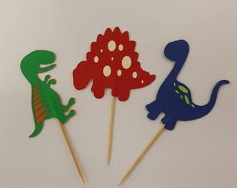 Dinosaurs cupcake toppers, set of 12.
