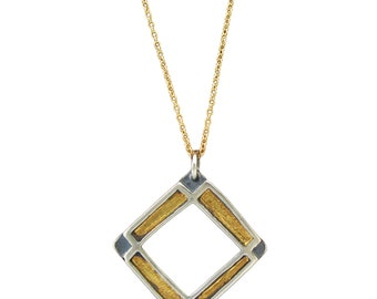 Sterling Silver and 24K Gold Necklace - Geometric Gold Necklace