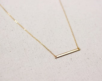 Gold Bar Necklace / Thin Gold Layering Bar Necklace / Delicate Everyday Bar Necklace / Gold Layering Necklace / Bridesmaid Gift
