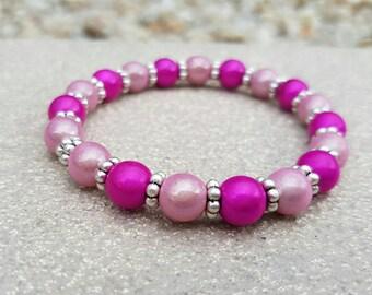 Pink beaded stretch bracelet shiny miracle beads fuchsia hot pink pastel stacking fashion bracelet