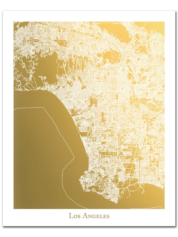 Los Angeles Map Print Gold Foil: Los Angeles Map Print At Infoasik.co