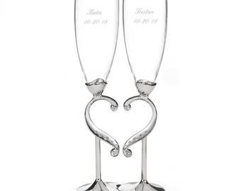 Linked Love Wedding Toasting Flutes Set (20771)