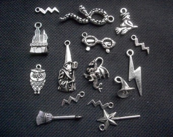 15 Harry Potter Themed Charms Silver Tone Metal