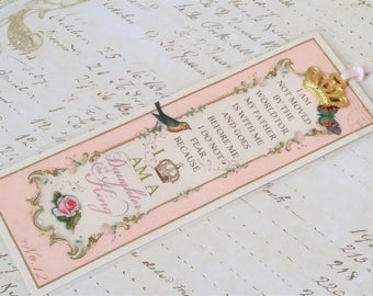 """Daughter of the King Bookmark Princess Party Favor """"FRENCH PINK"""" Sunday School Class gift Inspirational Gift Strength for the Journey"""