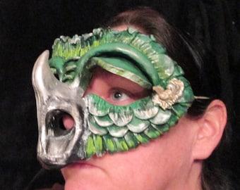 Masquerade Dragon costume mask, Creature mask, mardi gras mask, dragon mask, ren faire mask, green, horned dragon, lizard