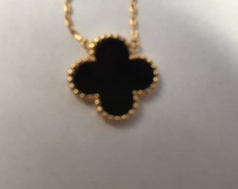 Black and 12k Gold Pendant Necklace