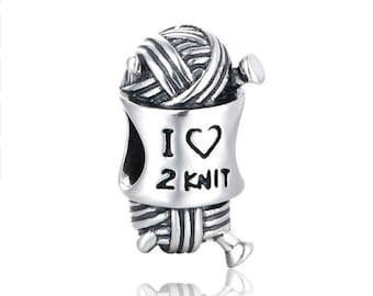 I Love 2 Knit Sterling Silver European Bead Charm