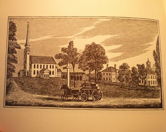Groton Massachusetts Town Engravings 1964 - New England Antiquarian Society - framable gift town history
