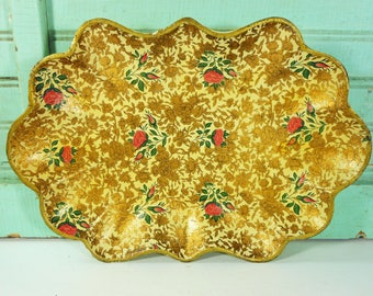Vintage Highmount Fluted Gold and Pink Floral Serving Tray, Alcohol Proof Paper Mache, Made in Japan