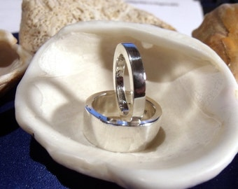 8mm & 3mm Custom wedding band set in Sterling Silver RF279