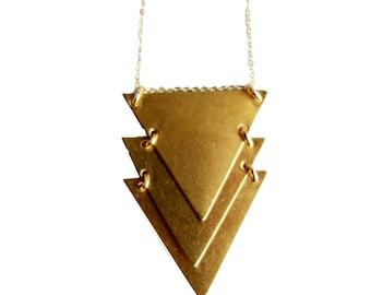 Kinetic Brass Chevron Necklace