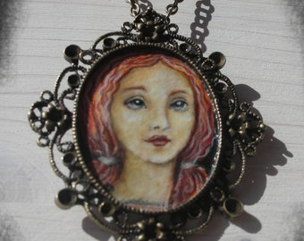 WOMAN No.2..original painting necklace.... Handpainted Vintage Style Frame ..victorian..  black..