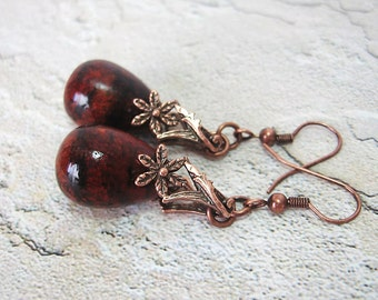 Brick Red Earrings - Chunky Chrysocolla Azurite & Copper Teardrop Earrings