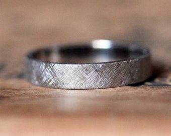Palladium wedding band, mens palladium ring, modern wedding band, alternative wedding band, textured band, recycled wedding band custom