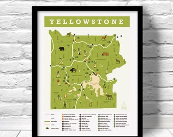 Yellowstone National Park Map, Map Print Outdoors Wall Art Hiking Art Print, Explorer map print, green home decor, yellowstone map
