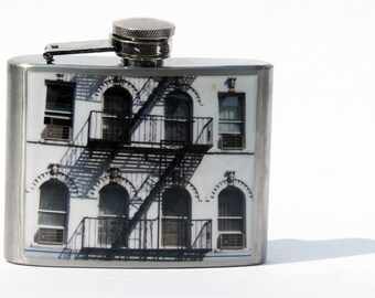 FLASK - East Village Building flask, 4oz NYC Photography Flask