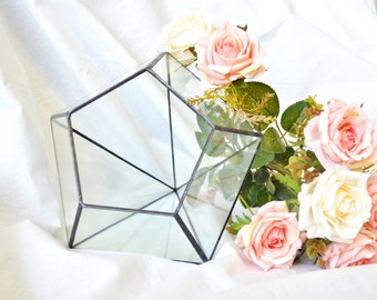 Stylish glass decor Inverted Adamant 3 sizes. Modern wedding table decor and indoor planter. Geometric Glass container