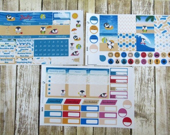 July Monthly Sticker Set, CLASSIC HAPPY PLANNER, Summer monthly, beach penguins