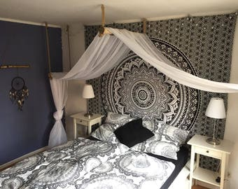 Cloth tapestry Black and white flower cover boho decor