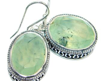 Moss Prehnite, Sterling Silver Earrings - weight 12.00g - dim L- 1 3 8, W - 5 8, T- 1 4 inch - code 14-wrz-17-46