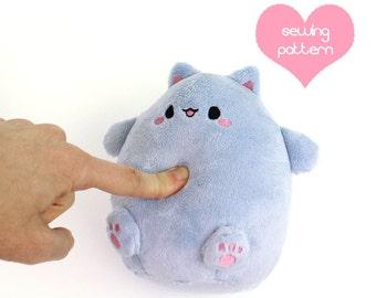 """PDF sewing pattern - Kawaii Cat Puff plushie - easy cute cuddly stuffed animal anime plush toy handheld 6"""" TeacupLion"""