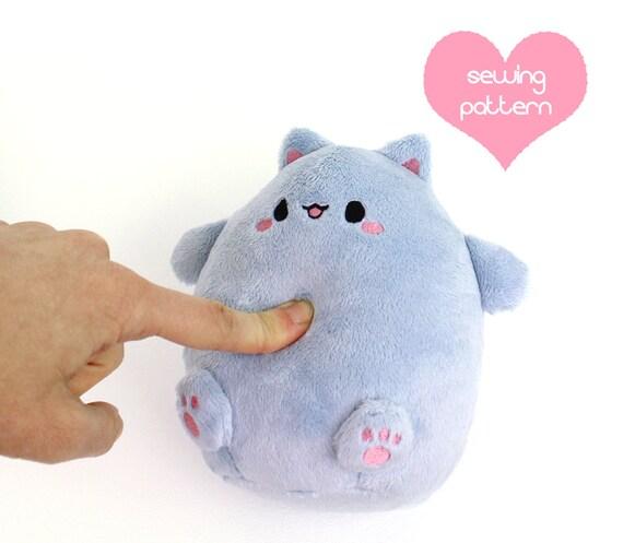 PDF sewing pattern Kawaii Cat Puff plushie easy cute