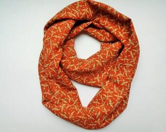 Red Orange Cranes Japanese Kimono Silk Infinity Scarf - Vintage Japanese Kimono Fabric