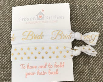 To have and to hold your hair back, white and gold bride gift, hen do, wedding, non crease elastic hair tie, cute stretchy bracelet