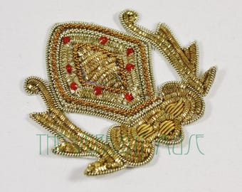 """ONE Mixed Metal Bullion 3"""" Patch- Metallic Gold and Silver Applique for Costume, Bridal, DIY Design"""