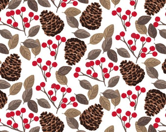 Snow Delightful - Pinecones Berries White by Natalie Alex from Studio E