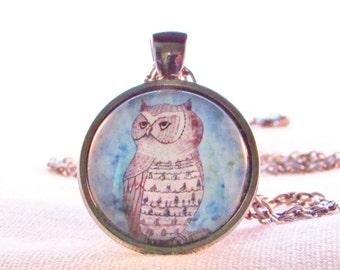 Owl Necklace - Spirit Animal - Woodland Art - Forest - Bird - Wearable Art -Unusual Bird Necklace - Unique Gift for Mom - Handmade in USA