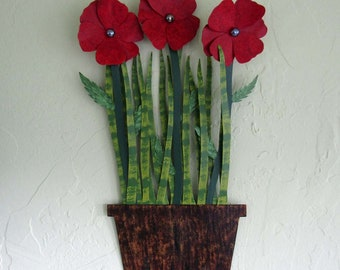 Flowers For The Kitchen Metal Art Wall Red Poppies Sculpture Flower Pot Wall Hanging Recycled  Art Floral Decor Indoor Outdoor 13 x 20