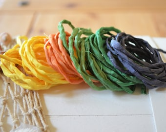 Hand dyed Silk Cords  - Set of 6 - yellow green black silk strings