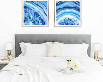 Fun Art, Bright Art Print, Geode Watercolor, Colorful Wall Art, Square Print Set of 2, Matching Art, Watercolor Geode Print, Agate Art Blue