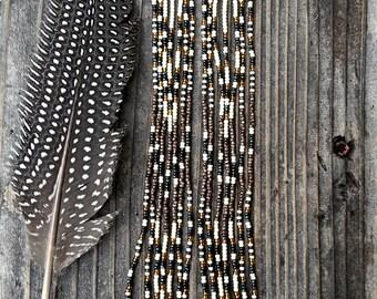 Skylark..Long Shoulder Duster Beaded Fringe Earrings